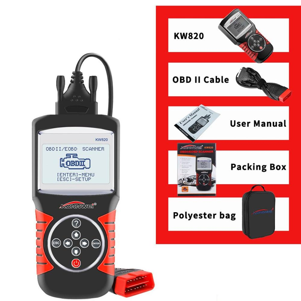 Kw820 Car Fault Diagnosis Detector Scanner 12V 2.8 Inch Screen Car Diagnostics