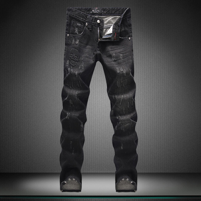new winter Men's jeans embroidery with hole in Europe and the United States jeans micro play cultivate one's morality  ZK10062 europe and the united states male patch slim straight personality five star embroidered hole flanging jeans