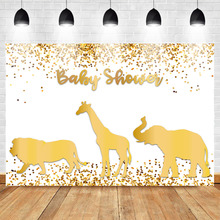 Mehofoto Baby Shower Backdrop Gold Confetti Animals Theme Photo Booth Backdrops Wild One Newborn Photography Background