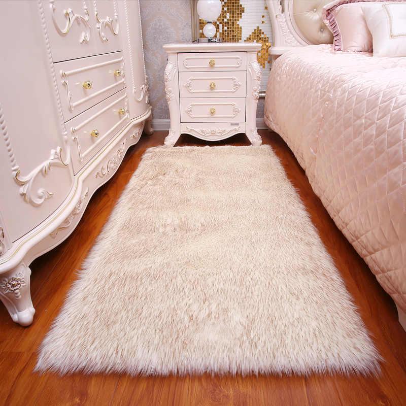 긴 머리 솔리드 카펫 거실 데코 인공 피부 직사각형 푹신한 매트 패드 안티-슬립 의자 소파 커버 일반 영역 러그