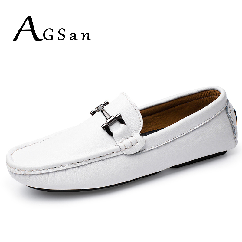 AGSan italian stitching design driving shoes men white leather moccasins handmade leather shoes men loafers mocasines homme blue leisure men s loafers with hollow out and stitching design