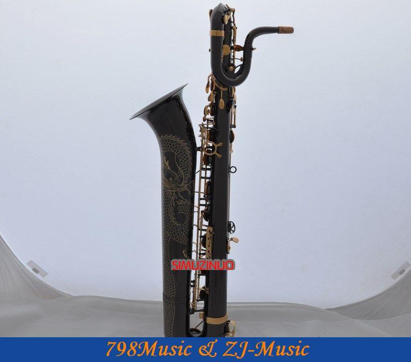 Professional Dragon Engraving Baritone font b Saxophone b font Black Nickel sax With Case