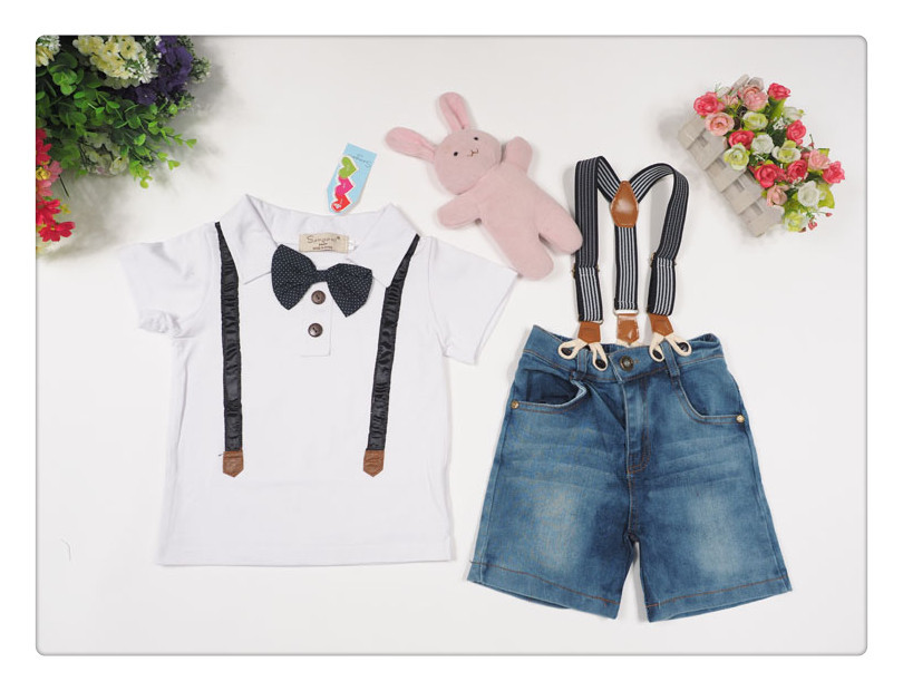 Brand Denim Overall Clothes Sets For Baby Boys Menino Bow Tie Shirts+Casual Washed Suspender Jeans Pant Roupas Infantis L229 amynicka casual jeans for men mid waist straight denim jeans male boys washed ankle length pants gray size 27 36 zj518