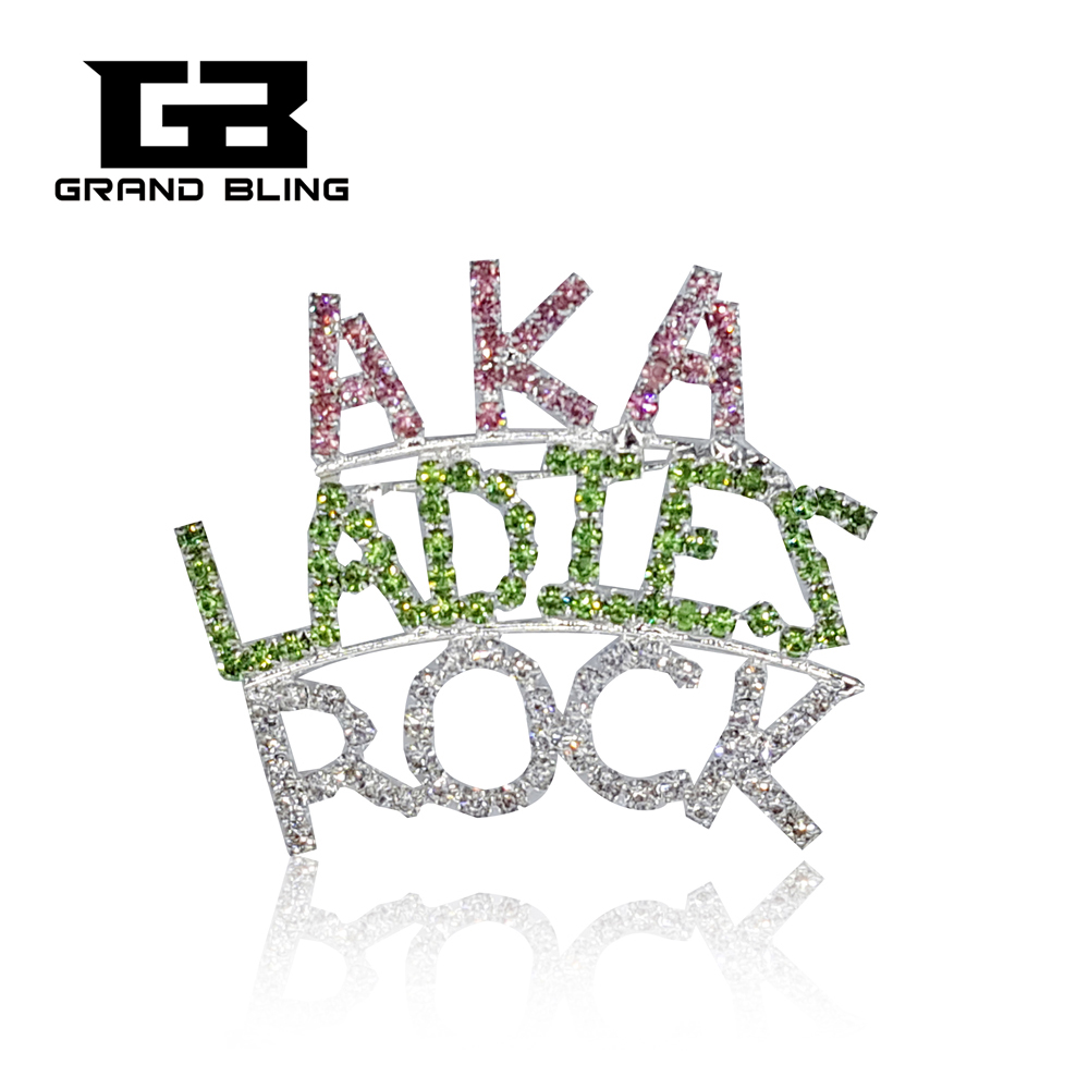 "AKA Theme Brooch Words""AKA LADIES ROCK"" Rhinestone Jewelry Pins"
