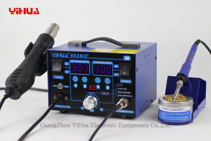 YIHUA 862BD+ Soldering Iron + Hot Air Gun Welding Rework Repair Solder Station with Free Gifts 110/220 EU/US PLUG dhl free shipping hot sale 220v hakko fx 888 fx888 888 solder soldering iron station with 10 free tips 900m t