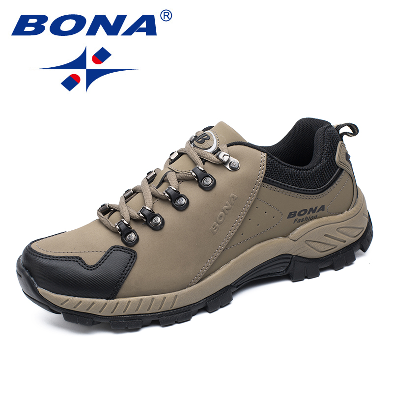 BONA New Popular Style Men Hiking Shoes Outdoor Jogging Trekking Sneakers Lace Up Athletic Shoes Comfortable Fast Free Shipping bona new designer popular style men tenis shoes leather outdoor jogging shoes athletic shoes lace up trendy sneakers shoes