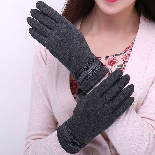 Elegant Women Gloves Solid Color Cashmere Mittens Female Winter Warm Touch Screen Full Finger Gloves