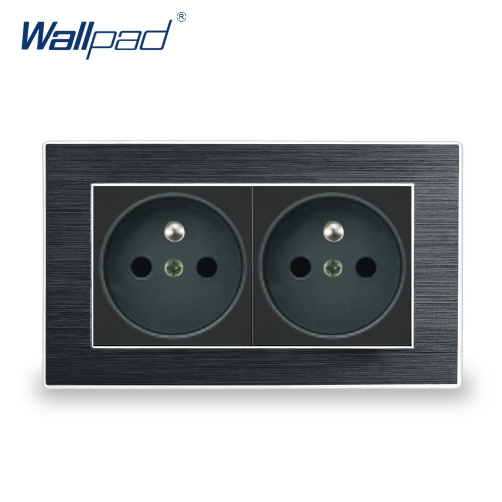 French Socket Wallpad Luxury Satin Metal Panel Double EU 16A Electric Wall Power French Socket 146*86mm Electrical Outlets eu 2 pin german socket wallpad luxury satin metal panel eu 16a electric wall power socket electrical outlets for home schuko