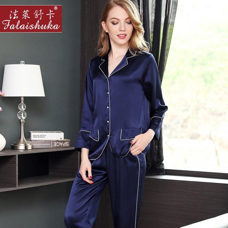 Women Long Sleeve Nightdress Silk Shirt Female Casual Home Wear 19, M Heavy Silk Pajamas NV Chun Summer 100% Mulberry Silk Two-P