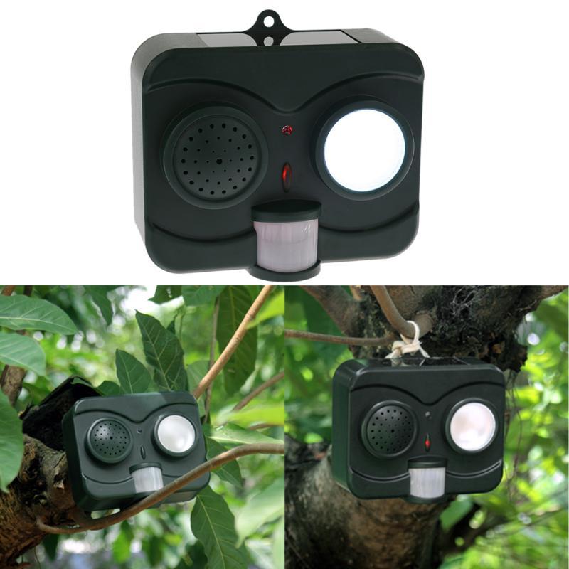 Solar <font><b>Energy</b></font> LED Acousto-Optic Bird Repeller Repellent Deterrent Pigeon Scarer Outdoor Garden Birds Repeller Pest Control