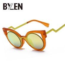 Новые металл hollow cat eye солнцезащитные очки женщин сексуальный марка дизайнер солнцезащитные очки круглый винтаж зеркало очки 8 цвета uv400