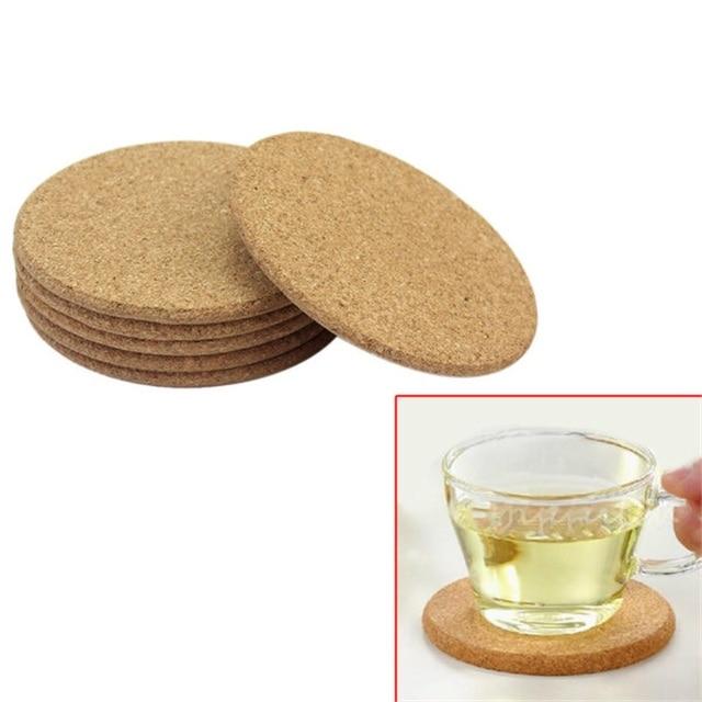 Attractive 6pcs/Lot Heat Resistant Wood Round Shape Cork Coaster Tea Drink Wine Coffee  Cup Mat