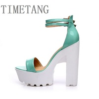 TIMETANG 2018 Summer New Fashion Sexy Word Open Toe Comfort Thick High Heeled Women Sandals Sweety