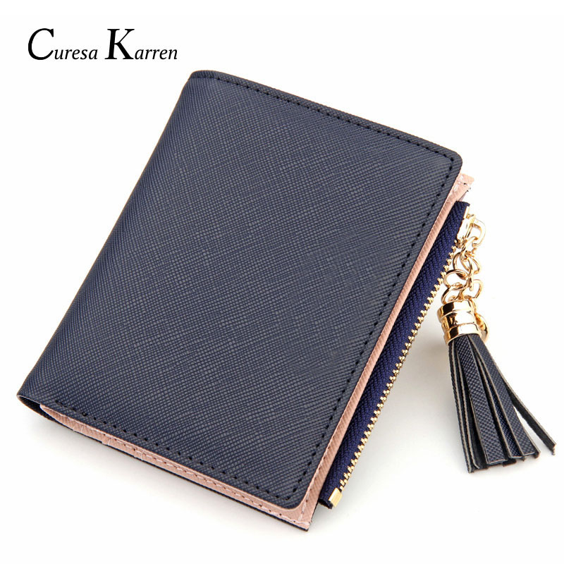 New Hot Ladies Casual Simple Fashion Leather Wallet Short Tassel Love Metal Decoration Cute Multi-function Card Bag Wallet