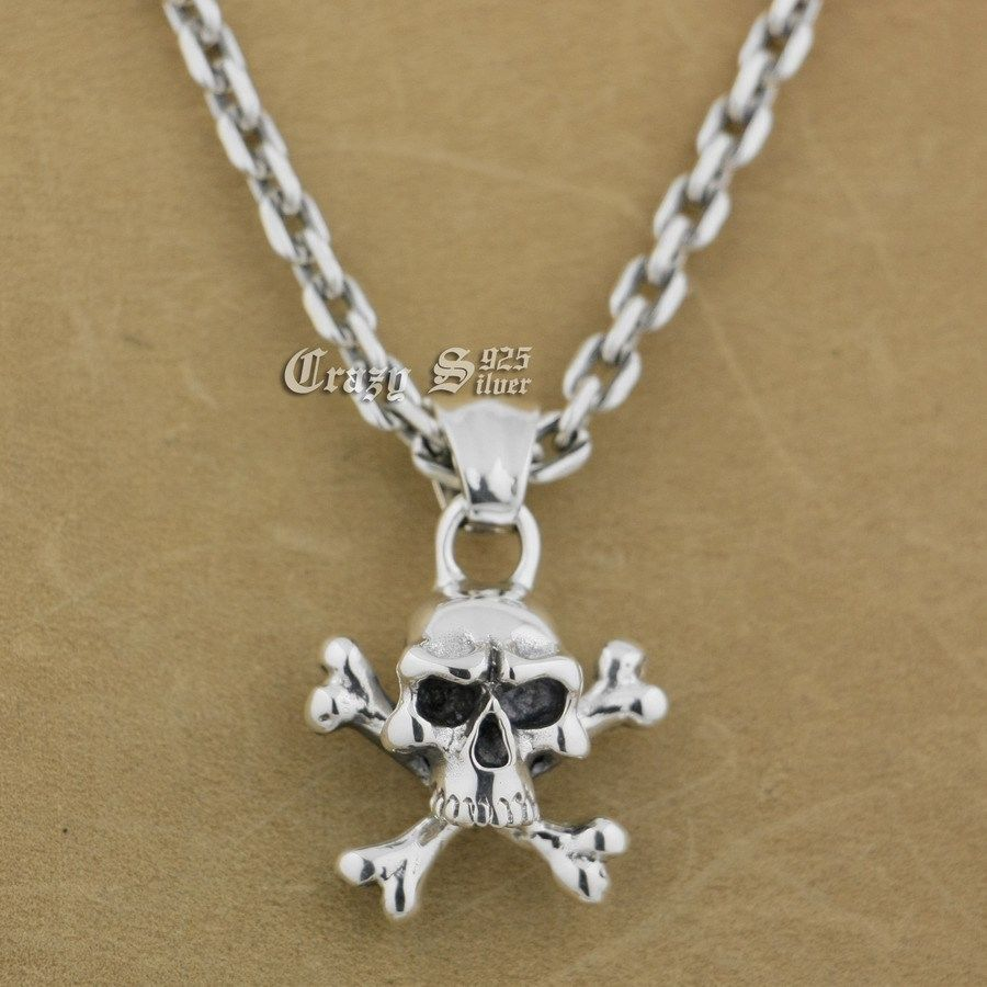 LINSION 925 Sterling Silver Pirate Skull Bone Mens Biker Punk Pendant 9S103 925 Sterling Silver Necklace 24 inches solid 925 sterling silver skull mens biker pendant 8c011 with matching stainless steel necklace