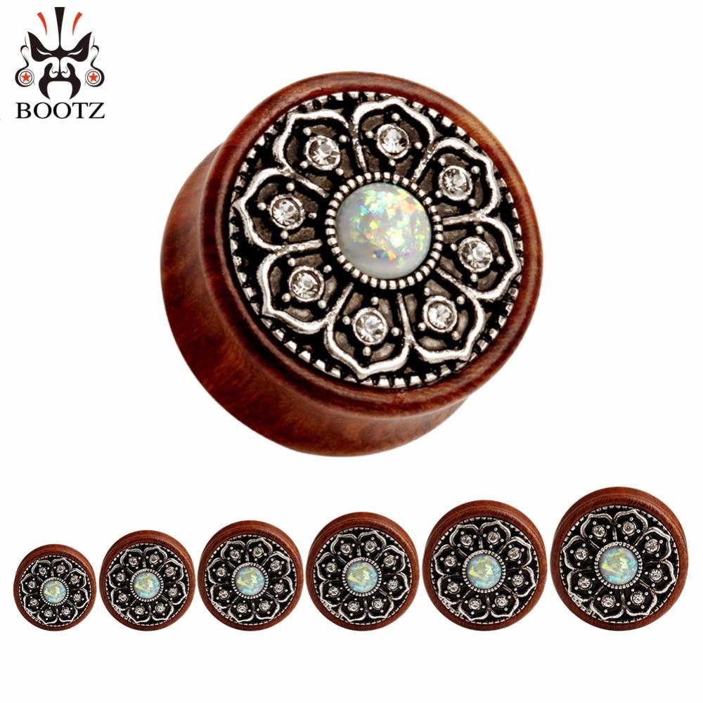buy wood metal plugs fake opal design ear tunnels crystal ear gauges piercing. Black Bedroom Furniture Sets. Home Design Ideas