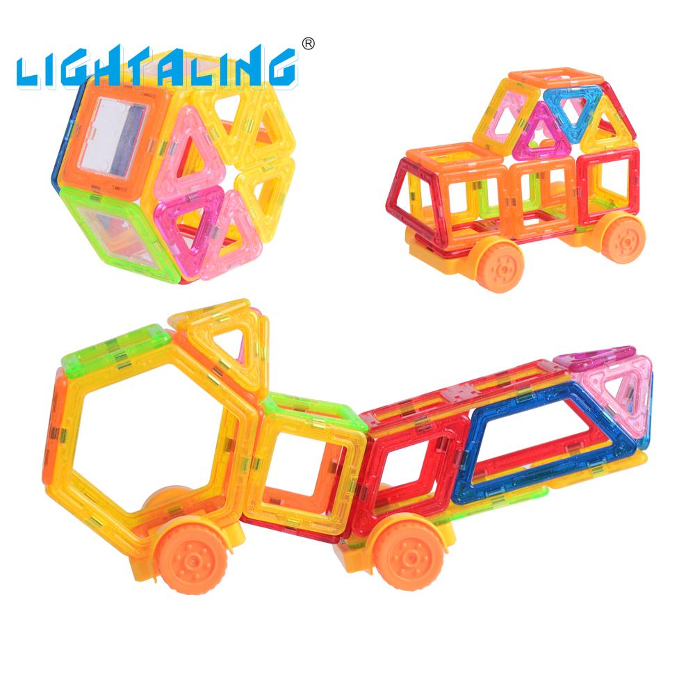 Lightaling Mini Magnetic Designer Construction Kids Educational Toys 40 Pieces Creative Bricks Enlighten Building Blocks kids toys magnetic bricks magformers designer educational toys wheel parts construction building blocks plaything toys