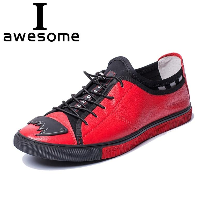 Plana Respirável Macio vermelho Lace Do Up Pé Mocassins Redondo Preto Sneakers Homens De Couro Lazer Casuais Apartamentos Genuíno Dedo Dos Confortável Sapatos qttv01x
