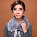 Genuine scarf for women Rex Rabbit Fur Scarves winter Real fur scarf women Ribbon collar Natural Fur Neckerchief lattice scarf