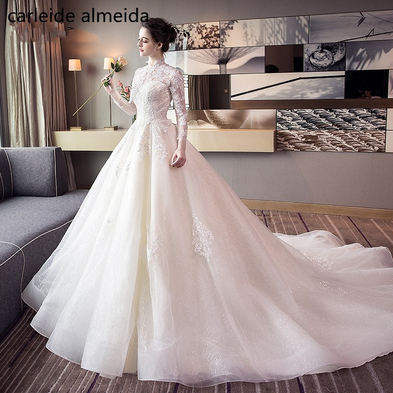 974413a61e5fd US $119.0 32% OFF|Vestidos de Novia High Neck Long Sleeves Wedding Dress  2018 Lace Appliques Robe de Mariee Bride Dress Keyhole Back Matrimoniov-in  ...