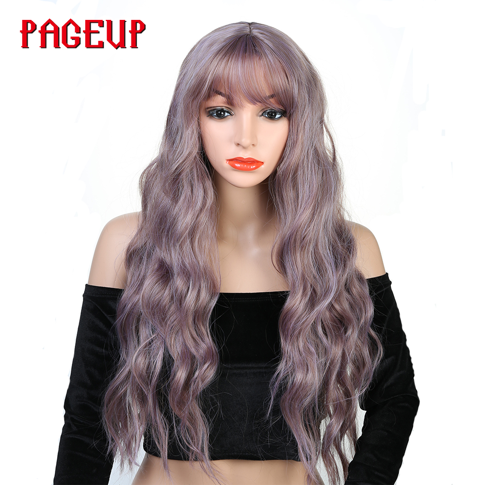 Pageup 26 Afro Long Blonde Pink Curly Synthetic Wig False Hair Wigs With Bangs For Black Women Red Cosplay Wig Women'S Wigs Sale