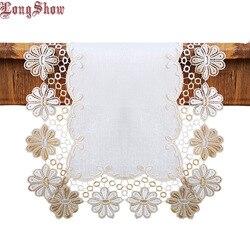 Criativo bordado laço estilo vintage poliéster linho mesa corredor