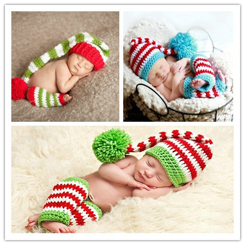 New Christmas stripe baby hat and socks handmade crochet photography props  newborn baby cap and socks Christmas gift Santa hat c7cdbf36ff7