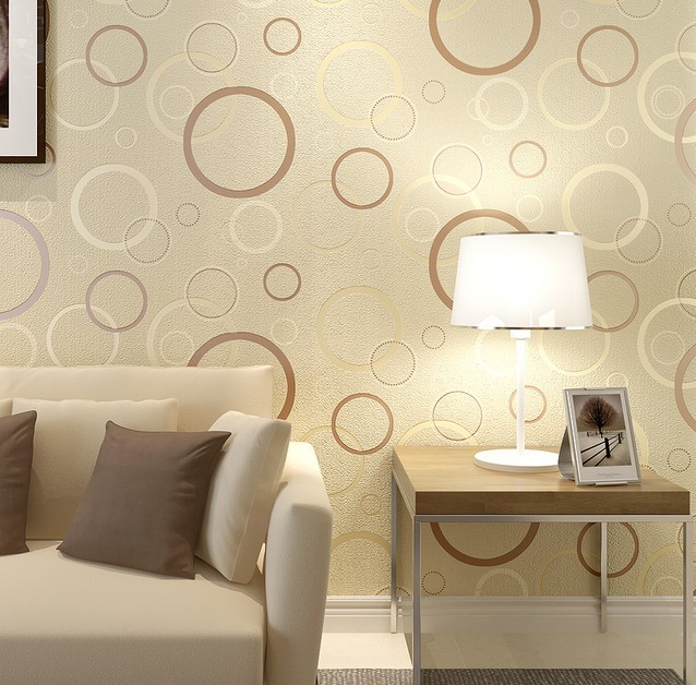 ФОТО Modern Champagne Circle Wallpaper 3D Background Living Room
