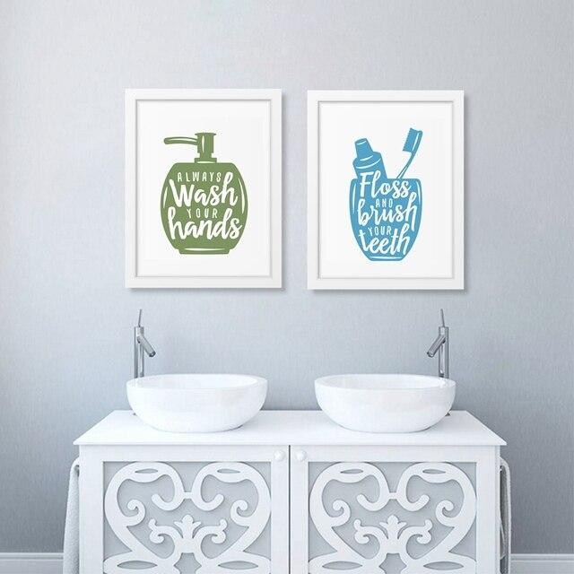 Badkamer gerelateerde posters met quote Canvas Afdrukken Uw Handen ...