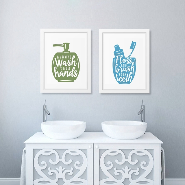 Bathroom Related Posters With Quote Canvas Printing Wash Your Hands