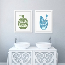Bathroom related posters with quote Canvas Printing Wash Your Hands Bathroom Painting Toilet Vintage Posters Wall Art Decoration(China)
