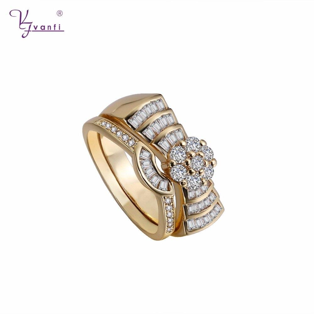 Новая мода Обручение и обручальные кольца для Для женщин золото Цвет заполнены Блестящий циркония обещание кольца два-в-одном кольца