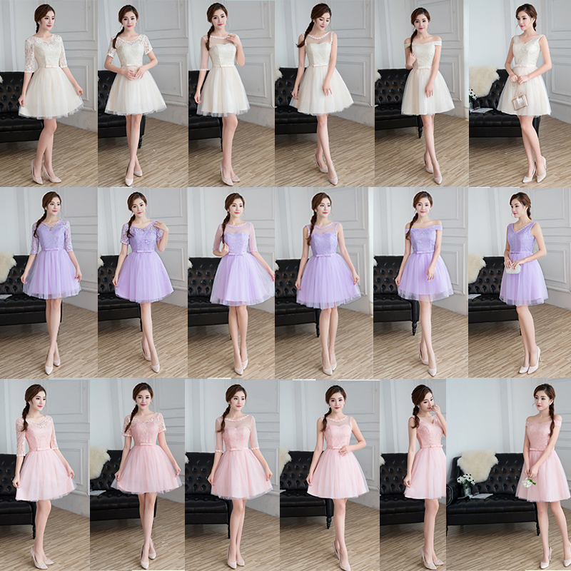 c597d41d5c2df Aliexpress.com : Buy Knee Length Pink Cheap Bridesmaid Dresses Lace Half  Sleeve Short Wedding Party Dress Purple Champagne Color Robe Soiree Mariage  from ...