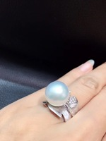 13 14MM white natural southsea pearl ring 18K white gold with diamond leaf ring fine women jewelry free shipping