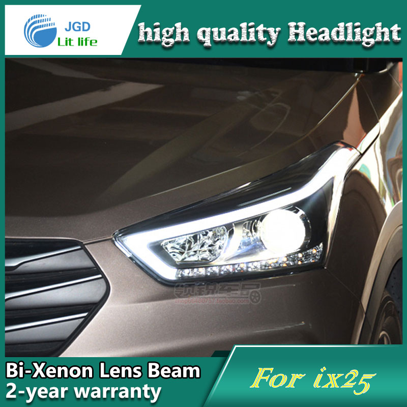 Car Styling Head Lamp case for Hyundai IX25 Headlights LED Headlight DRL Lens Double Beam Bi-Xenon HID Accessories hireno headlamp for 2004 10 hyundai elantra headlight headlight assembly led drl angel lens double beam hid xenon 2pcs