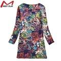 Мода 2016 Весна Цветочный Печати Женщины Dress Дамы С Длинным Рукавом Повседневный Осень Платья Vestidos Robe Femme Feminino YL772
