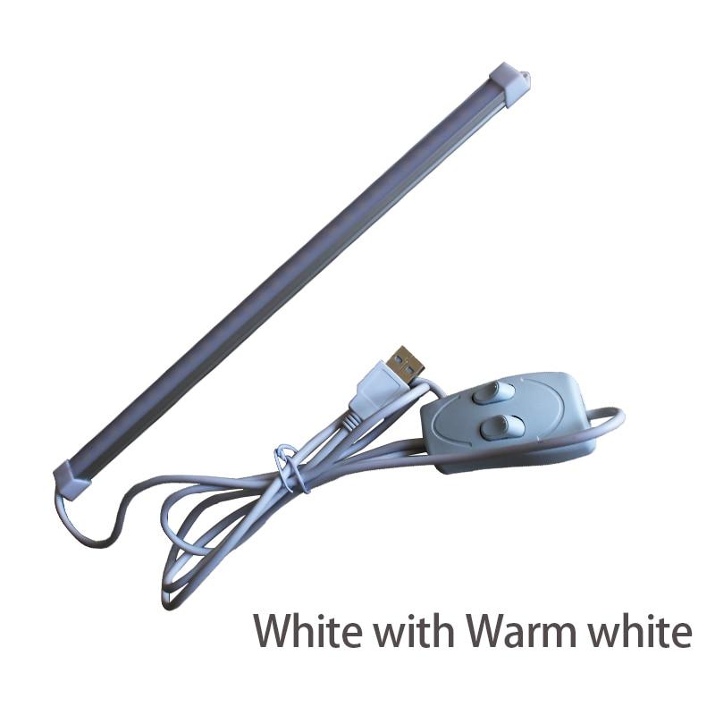 1ks USB LED svítilna Stříbrná světla 5V 10W 60LEDs Interiérová svítilna s přepínačem 3 Barvy měnitelné Pro nouzové kempování / turistiku