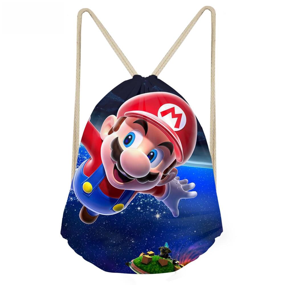 ThiKin Super Mario Printing Games Drawstring Bag Boys Girls Kids School Backpack Cute Small Backpacks Rucksack