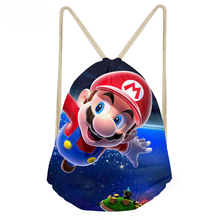 ThiKin Super Mario Printing Games Drawstring Bag Boys Girls Kids School Backpack Cute Small Backpacks Rucksack sac a dos