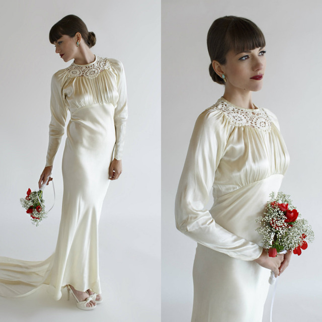 Cusrom Made 1930s Vintage Wedding Dress / Long Sleeve Ivory Birdal ...