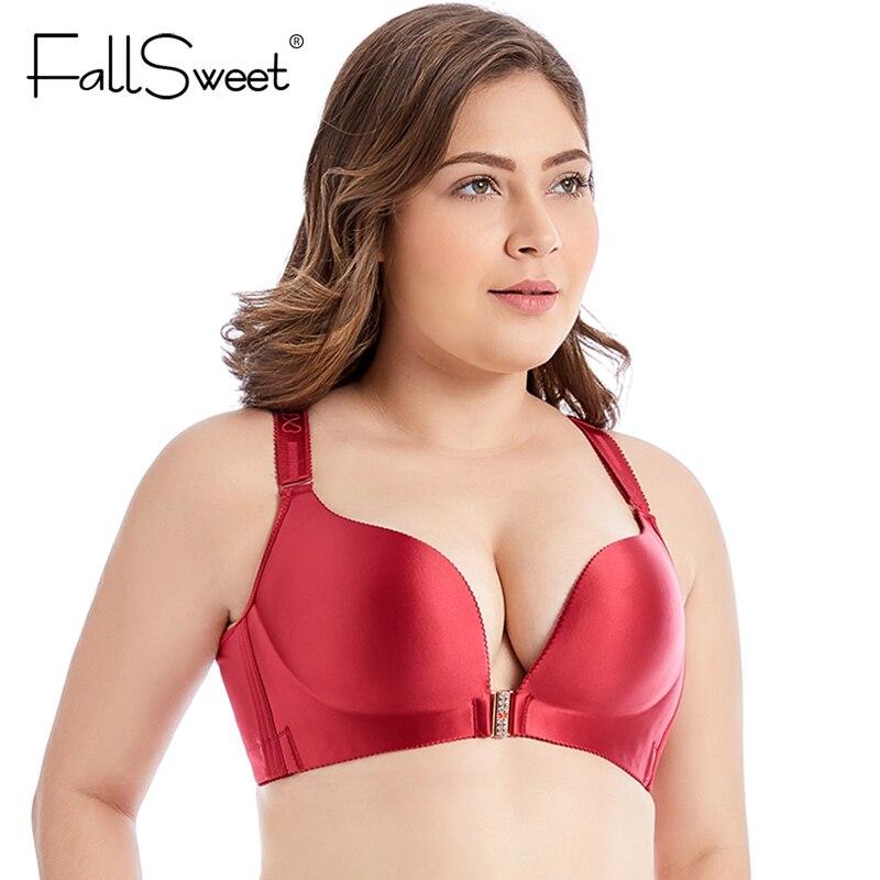 FallSweet Front Closure Bras No Wire Beauty Back Brassiere for Women Beauty Back Plus Size Bra