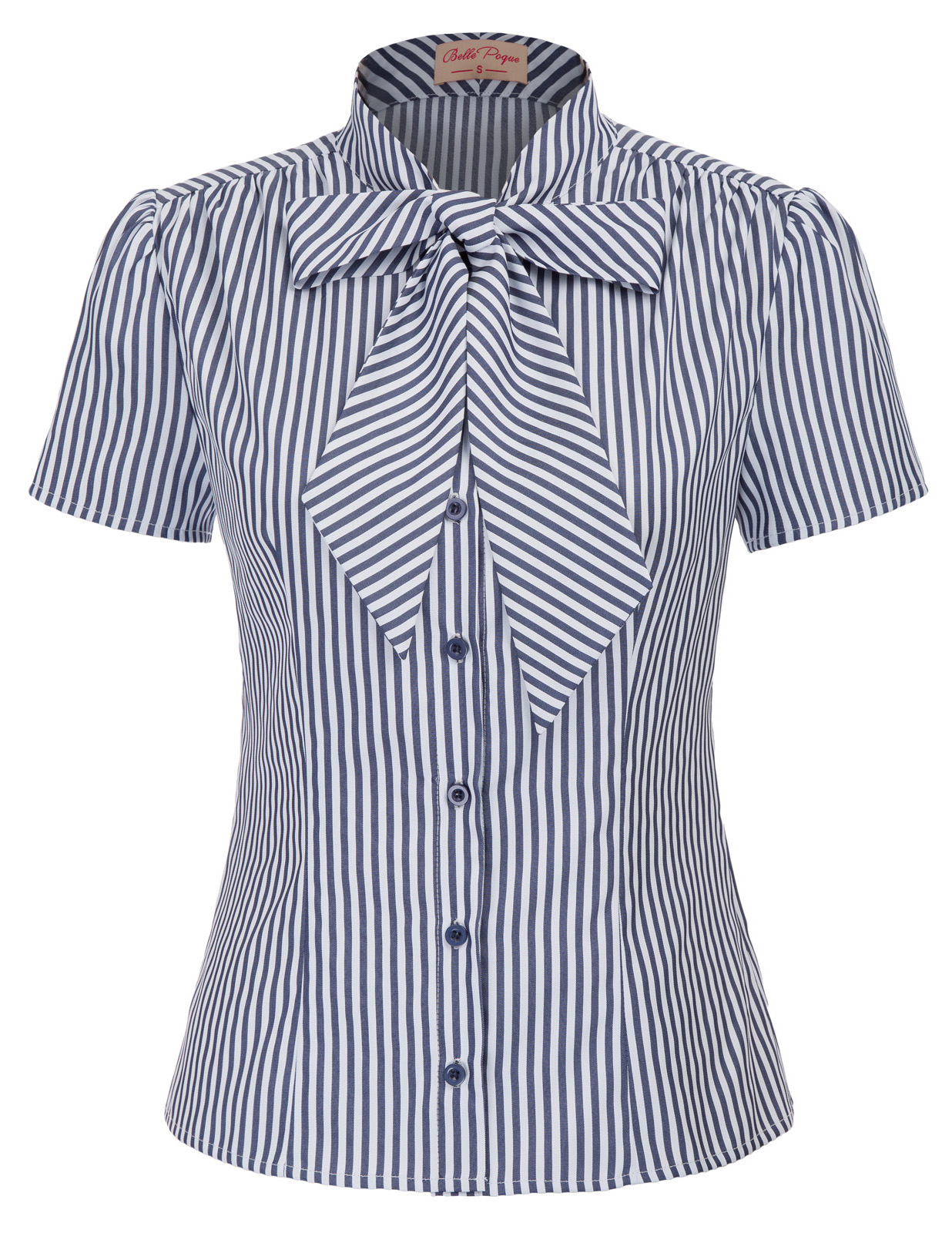 summer Black blue striped shirt womens tops and blouses for office work party short sleeve shirts bowknot Blusas Femininas