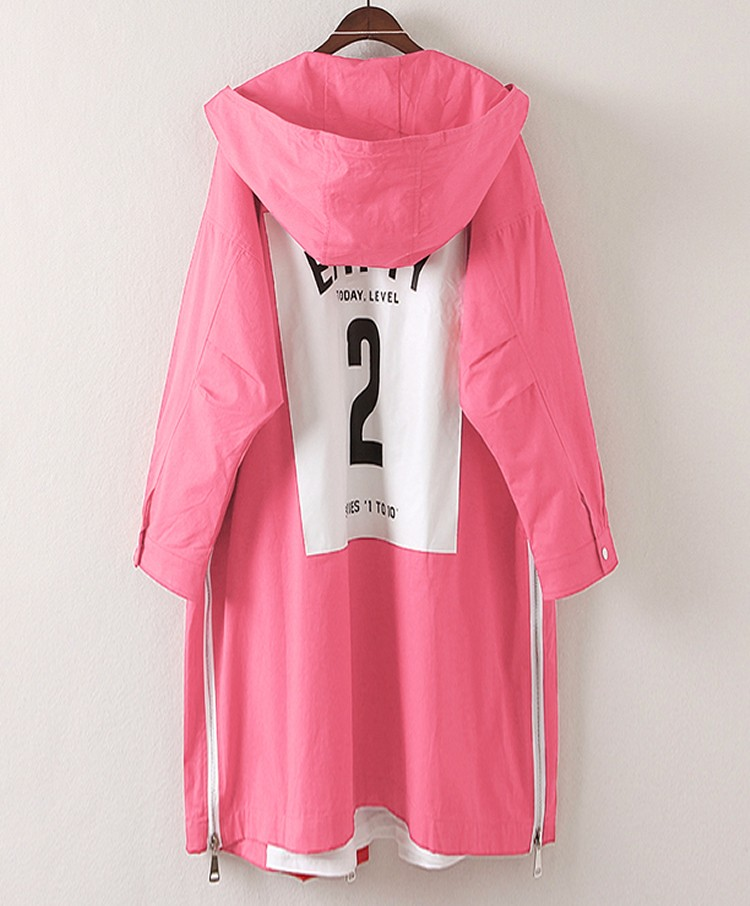 2017 Spring Woman Pink Oversized Trench Coats Girls Loose Fitting Hooded Trench Lady Casual Lined Overcoats Latter Print Outer (3)