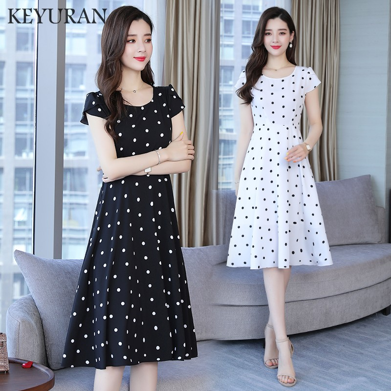 Women's Polka Dot Dress Sexy O-neck Vintage New Summer Dress Elegant Chiffon Short Sleeve Women Party Dresses 2019 Plus Size 5XL