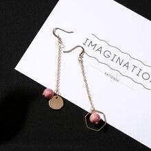 Geometry Style Pink Enamel Beads Long Chain Dangle Earrings Big Drop Earrings for Women Ear Piercing Jewelry