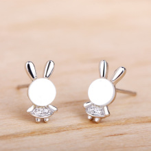 Funmor Rabbit Shape 925 Sterling Silver Stud Ear Jewelry Brincos Earrings Children Girls Daily Holiday Vacation Accessories Gift