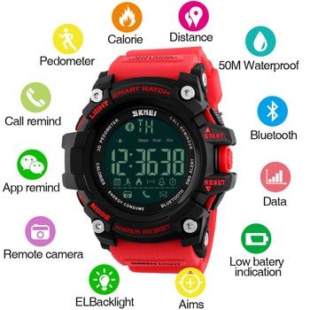 SKMEI Fashion Outdoor Sport Smart Watch Men Bluetooth Multifunction Fitness Watches 5Bar Waterproof Digital Reloj Hombre - discount item  40% OFF Men's Watches