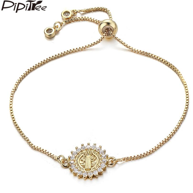 1172761dce1 Pipitree Religious God Father Jesus Bracelet for Women Men Brass Adjustable  Chain Cubic Zirconia Round Charm