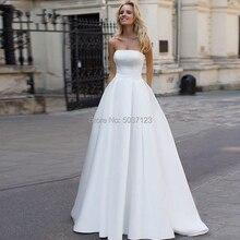 Satin A Line Wedding Dresses 2019 Beading Backless Bridal Gowns Court Train Strapless Vestidos de Noivas White Custom Made