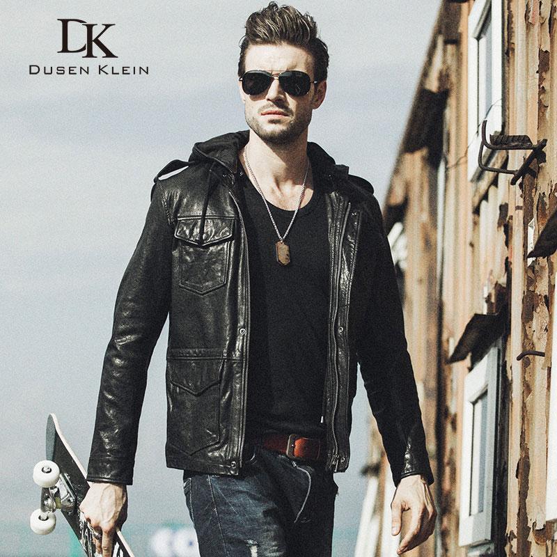 Dusen Klein 남성 자켓 짧은 양말 / 슬림 디자이너의 outwear 정품 양피 후드 오토바이 코트 61U8183